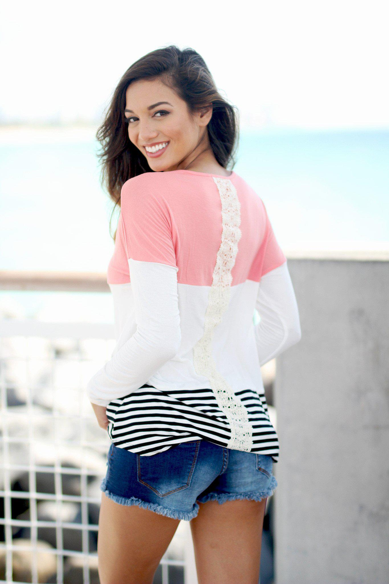 Coral and Ivory Color Block Top