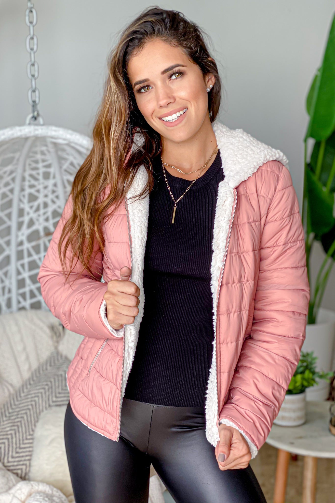 mauve and faux sherpa reversible puffer jacket