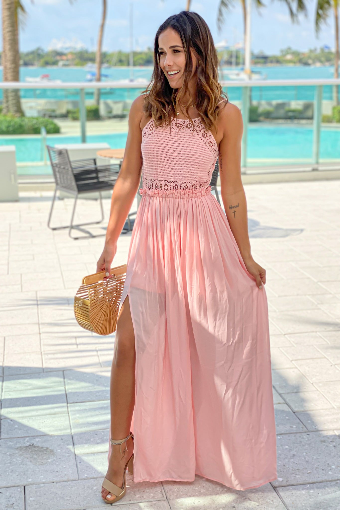 mauve bridesmaids maxi dress