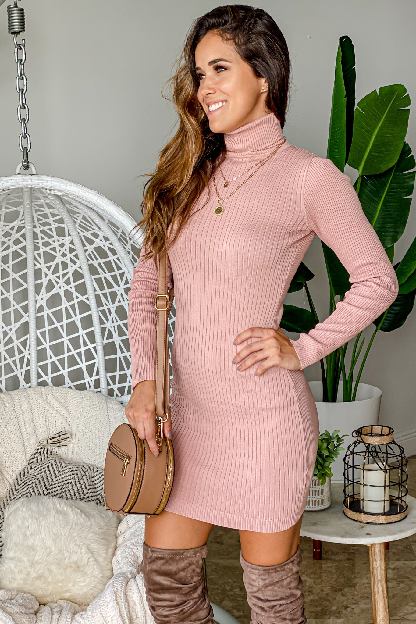 mauve casual dress