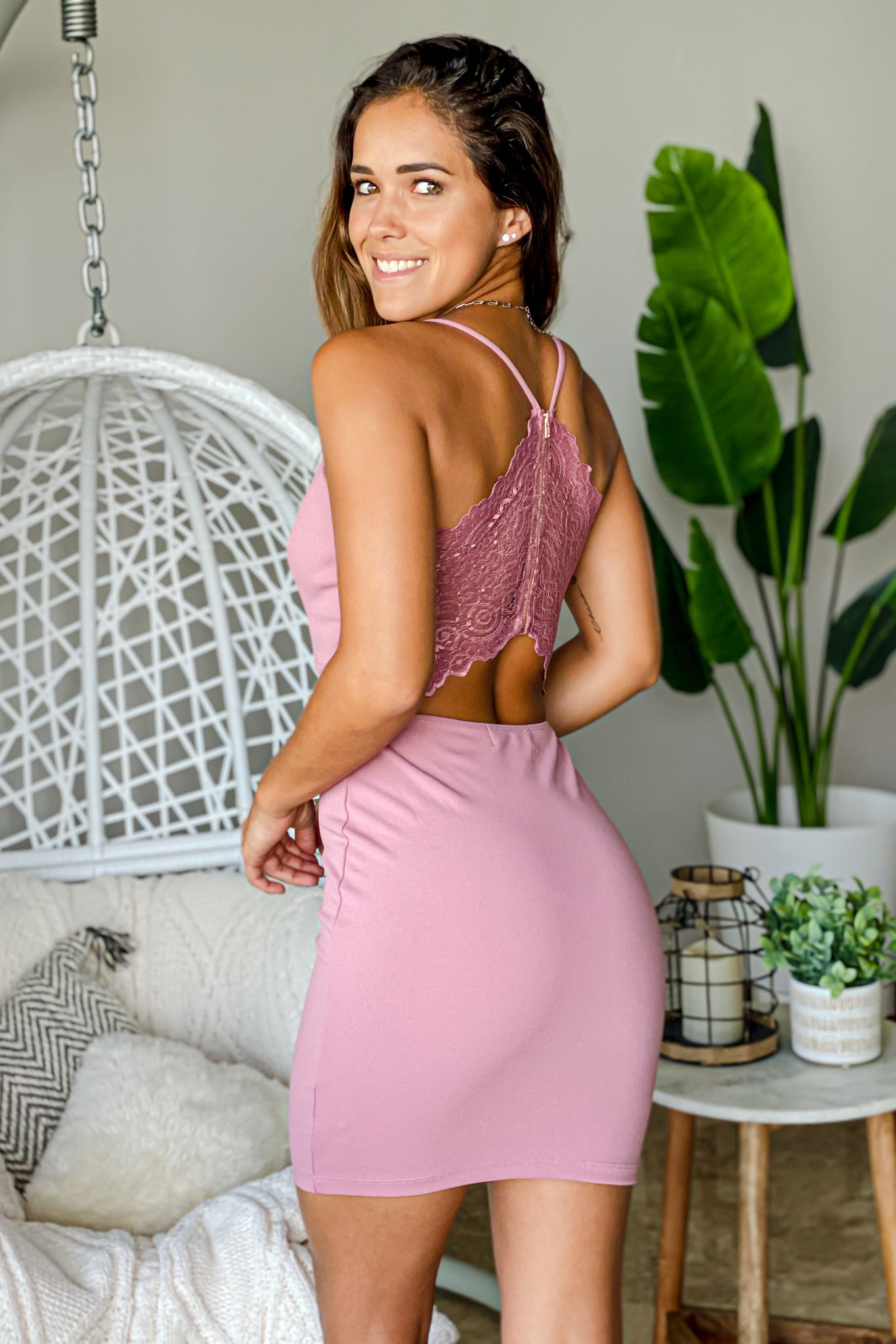 mauve casual short dress