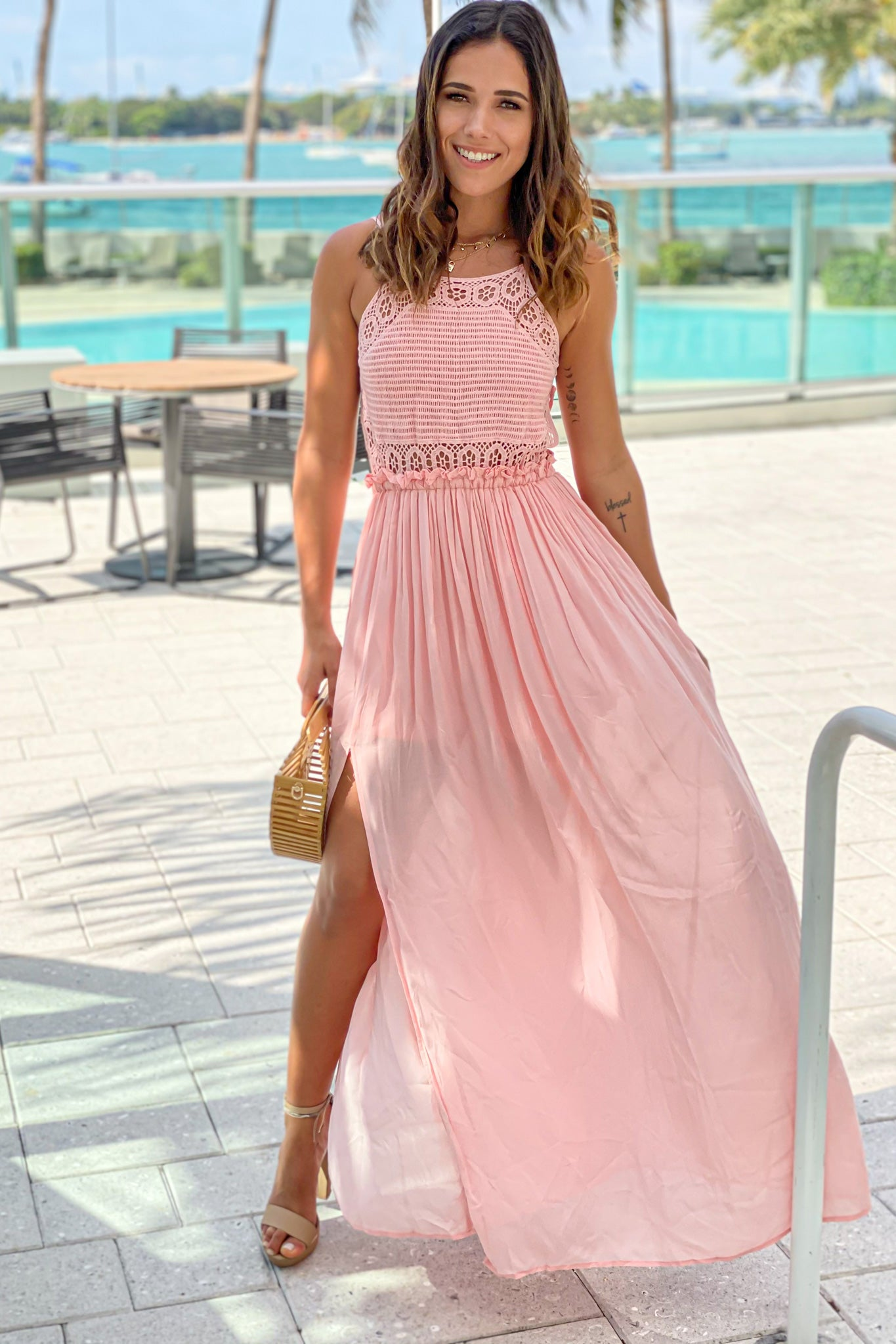 mauve crochet top maxi dress with slit