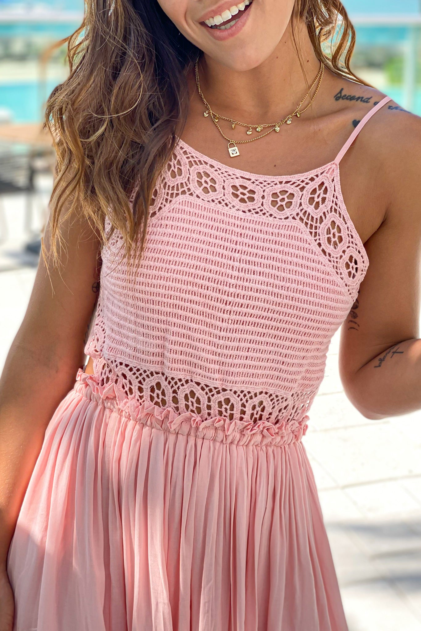 mauve crochet top maxi dress