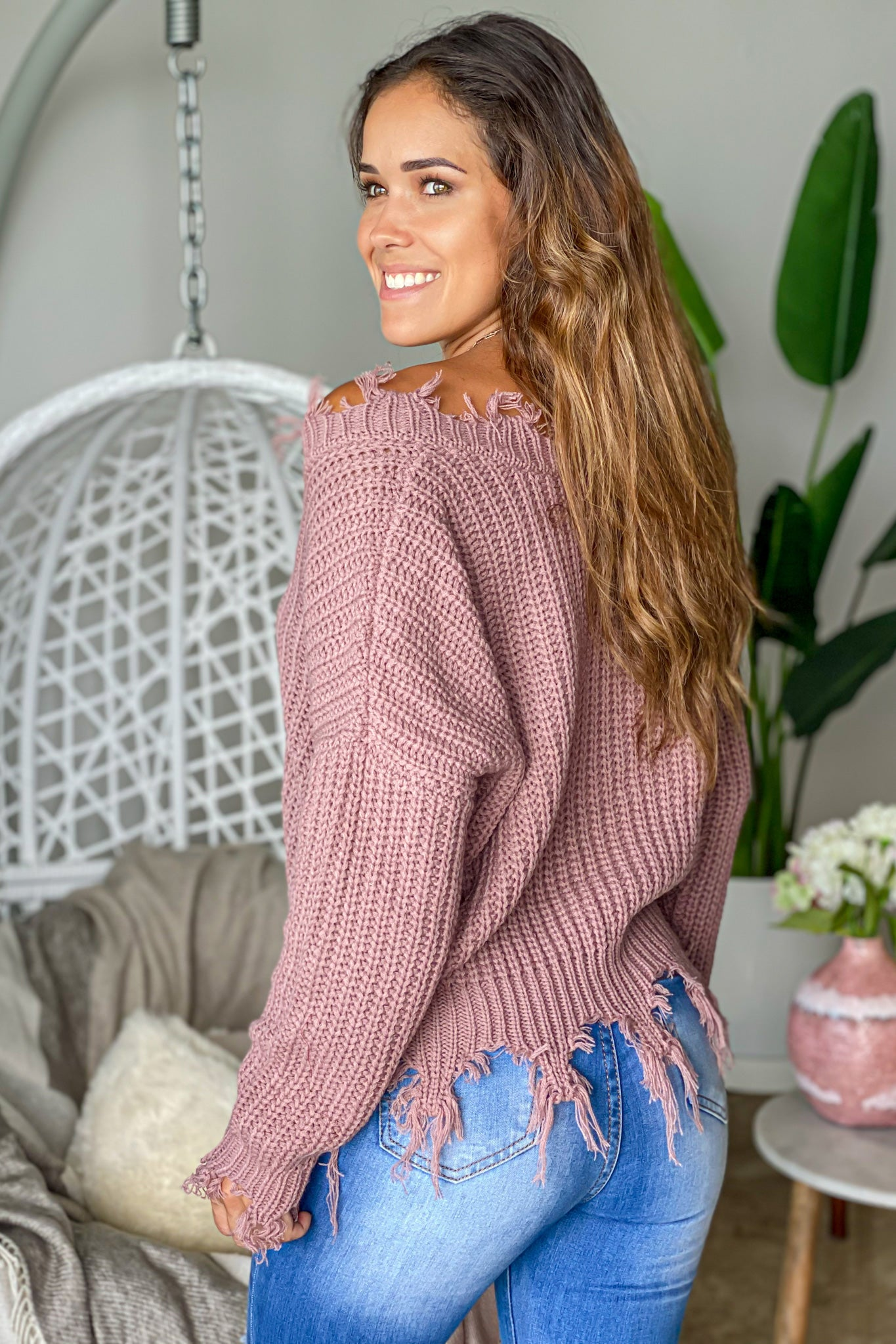 mauve fall sweater