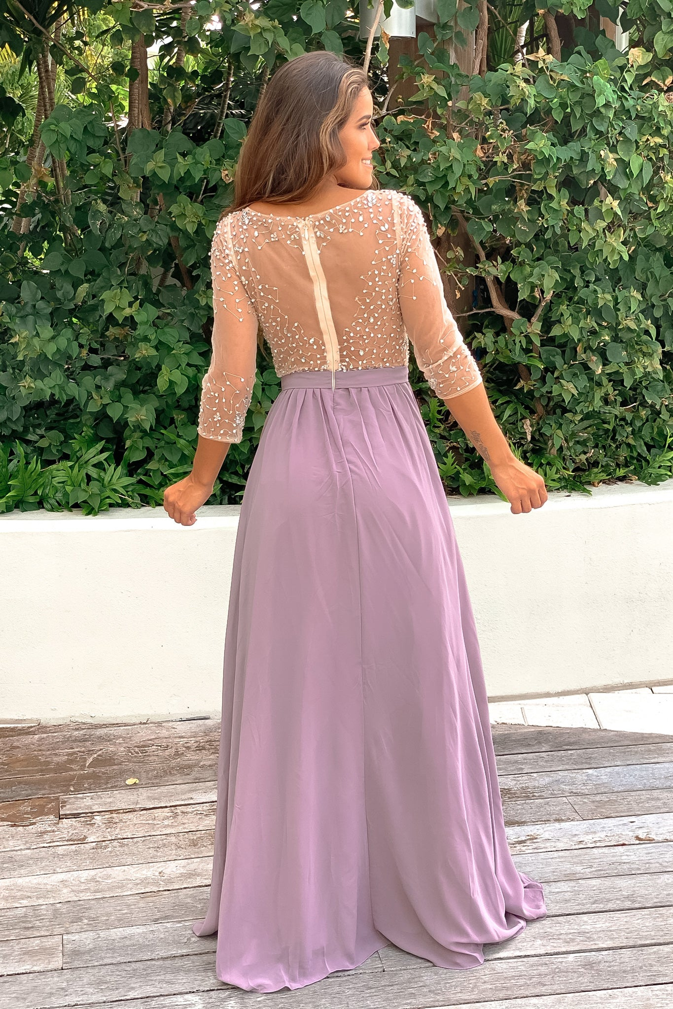 mauve formal maxi dress
