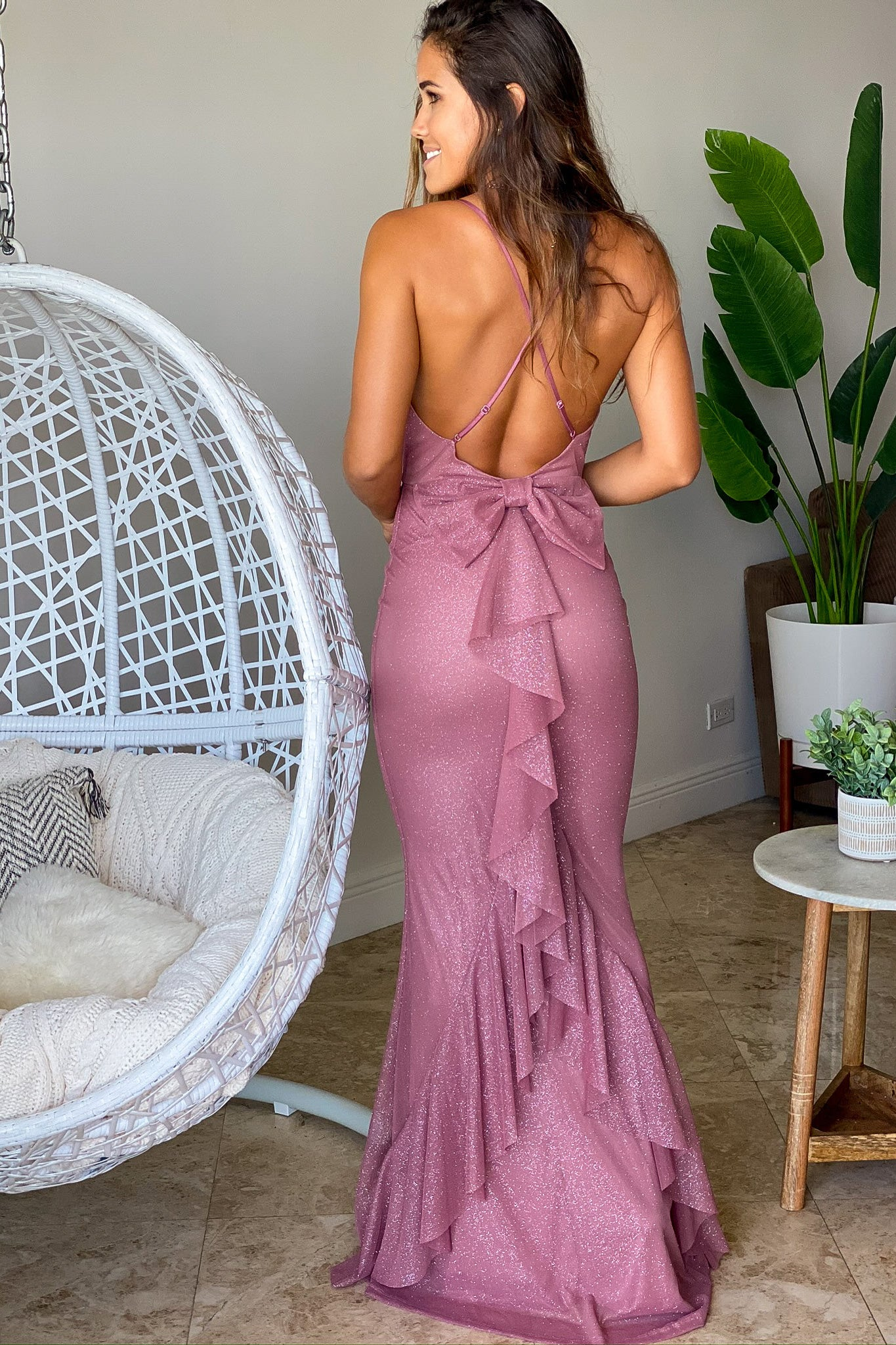 mauve glitter maxi dress with bow ruffle details