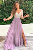 mauve maxi dress with silver jewels and 3/4 sleeves