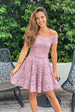 mauve off shoulder lace short dress