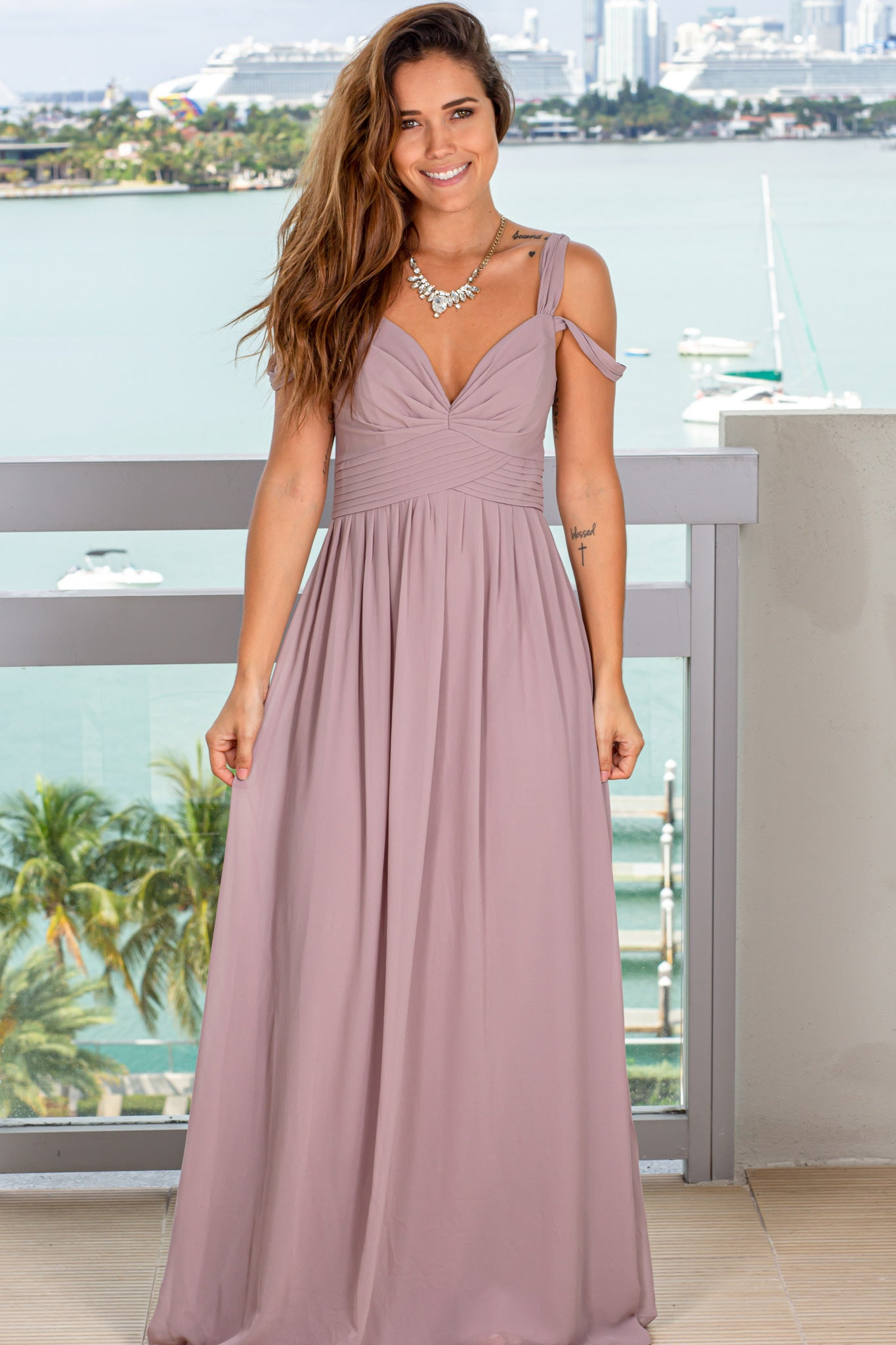 mauve off shoulder maxi dress