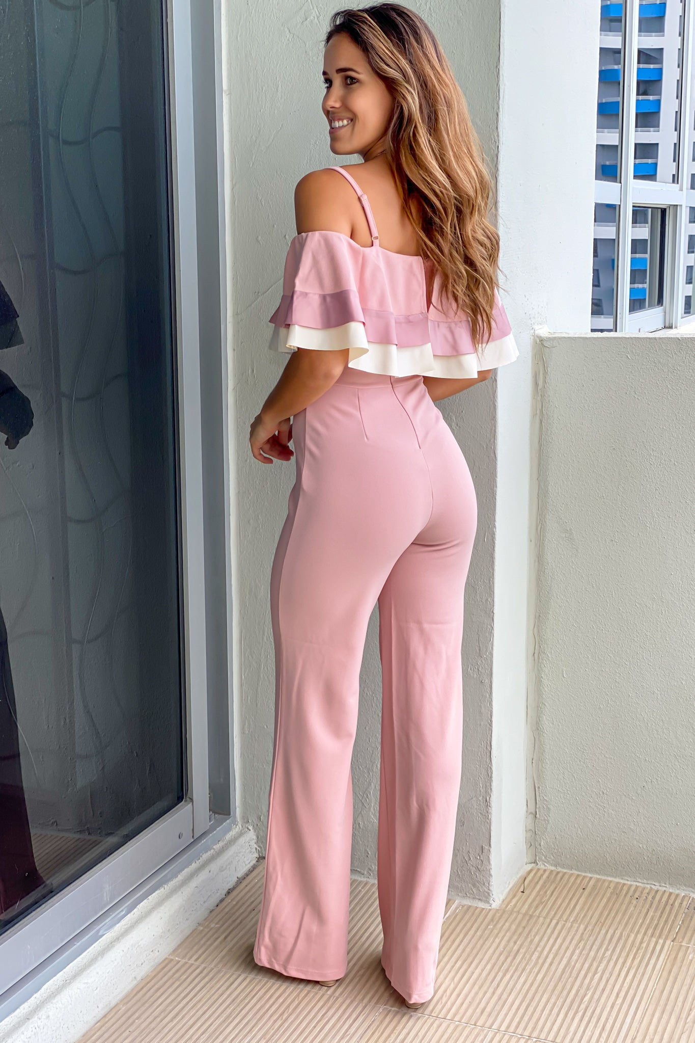 mauve party jumpsuit