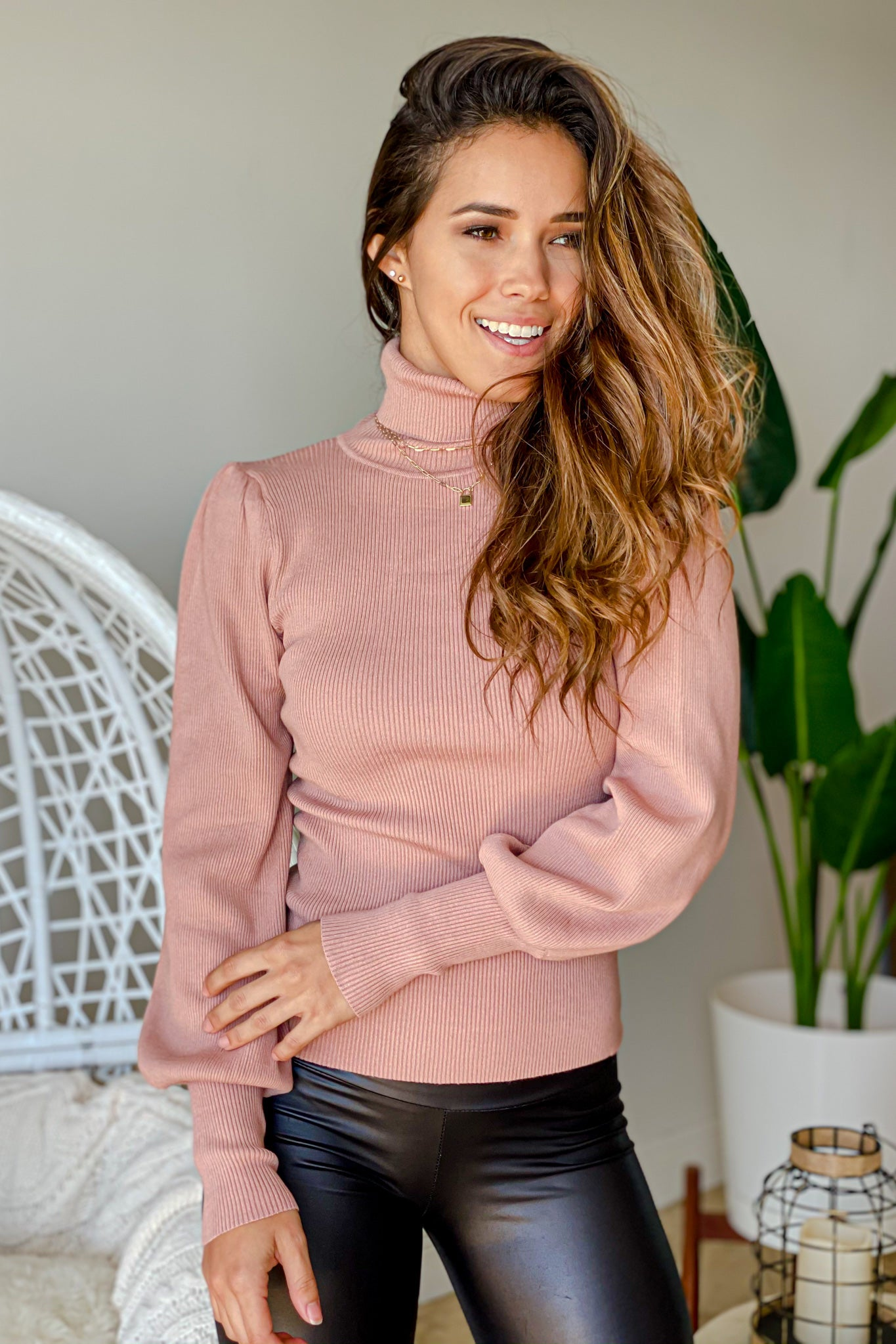 mauve puff sleeve sweater