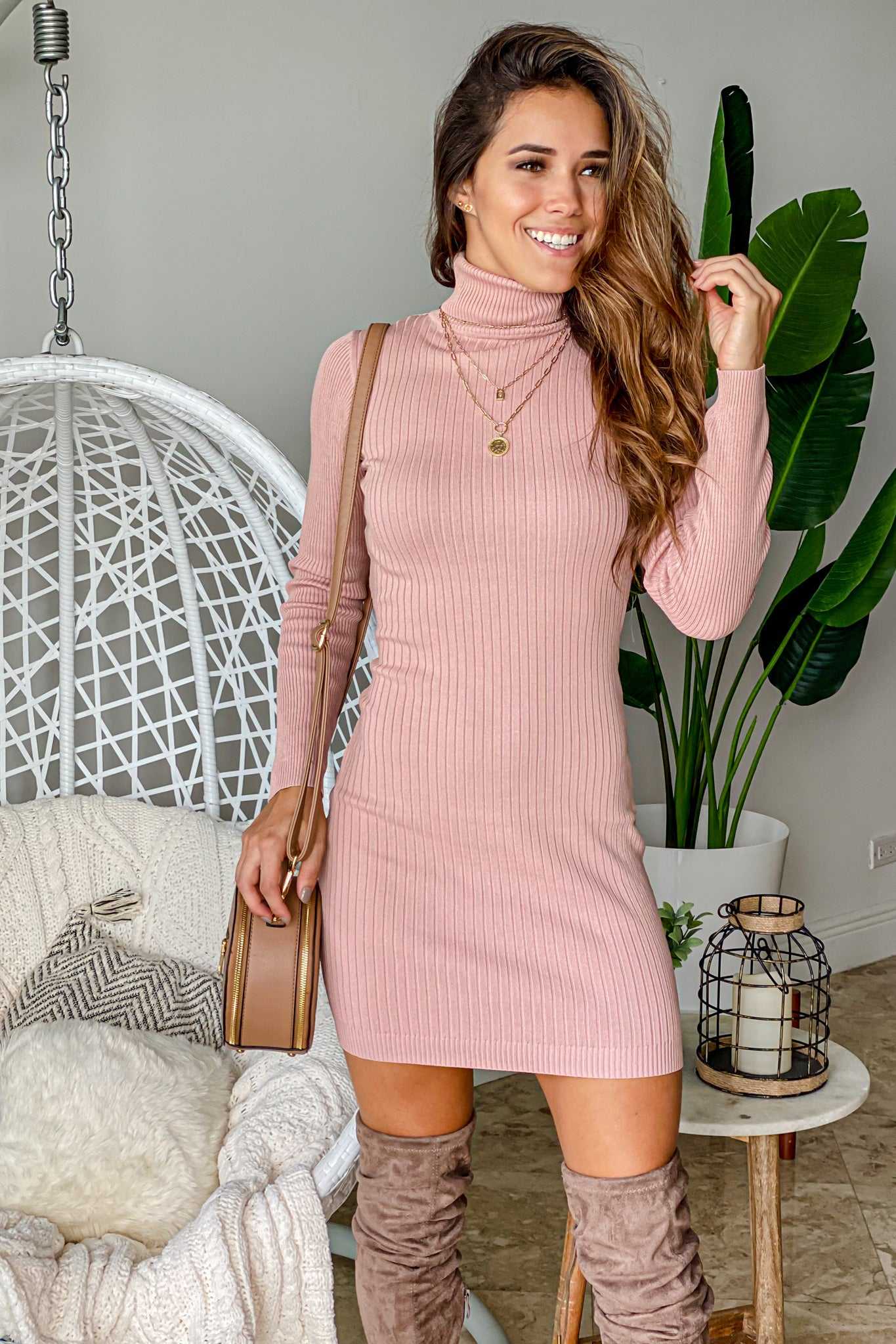 mauve ribbed high neck short dress