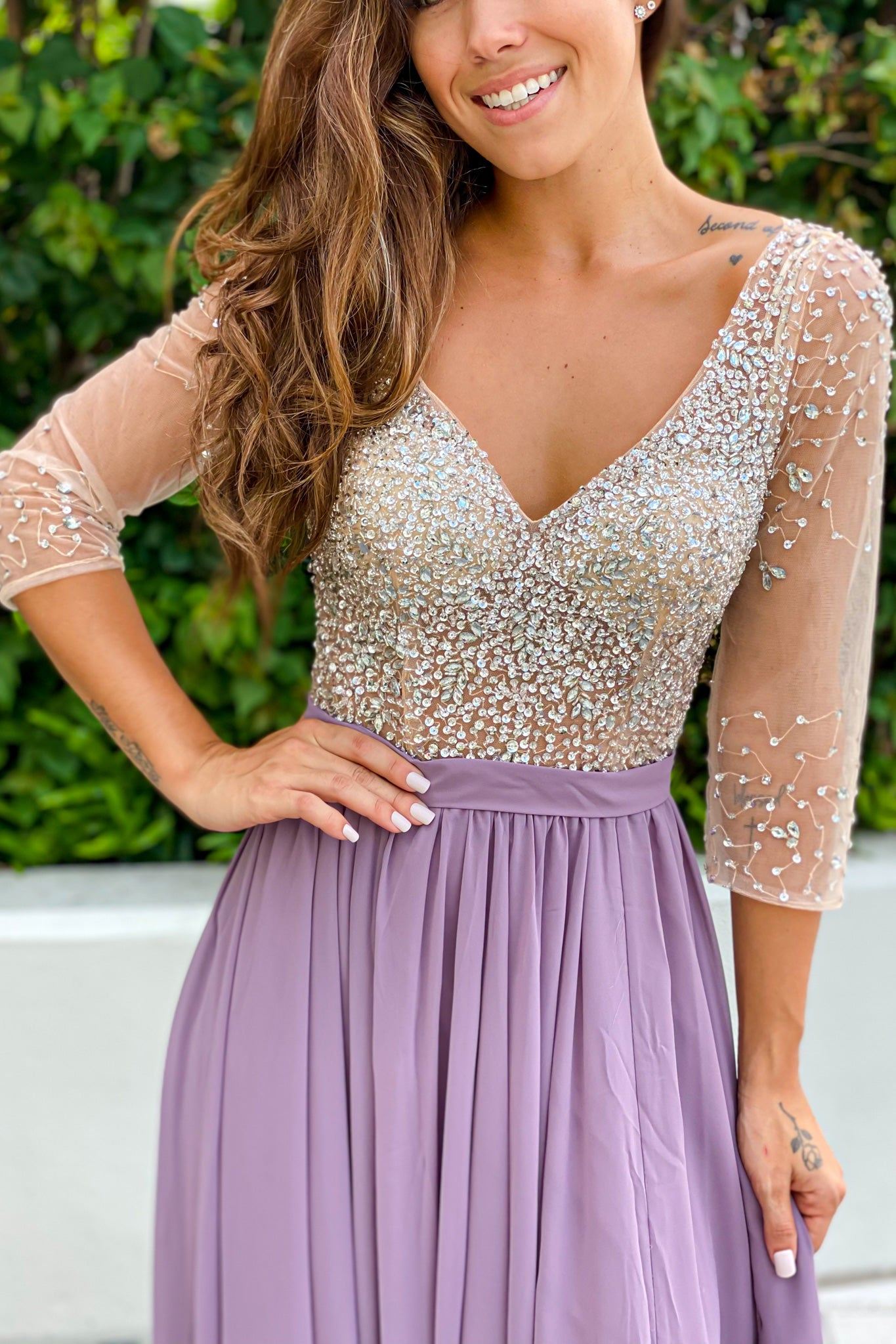 mauve silver jewels top maxi dress