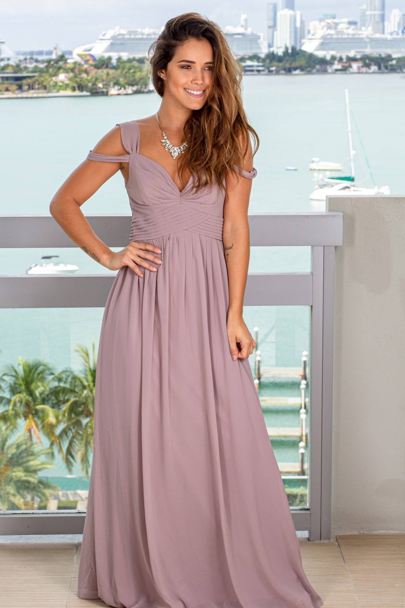 mauve wedding guest maxi dress