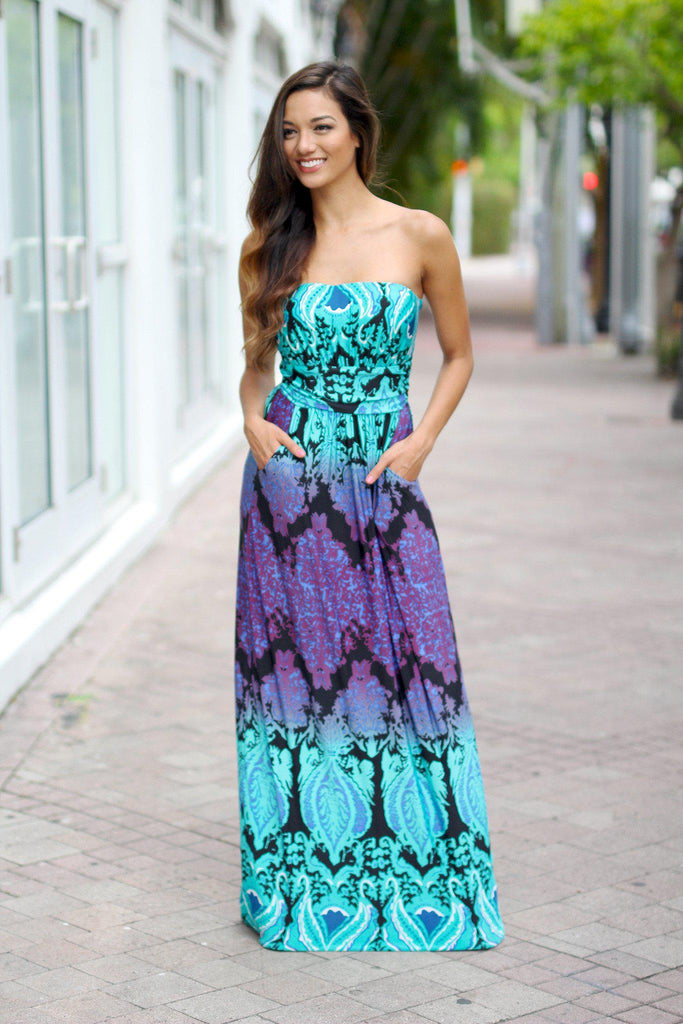 aqua and purple printed long dress