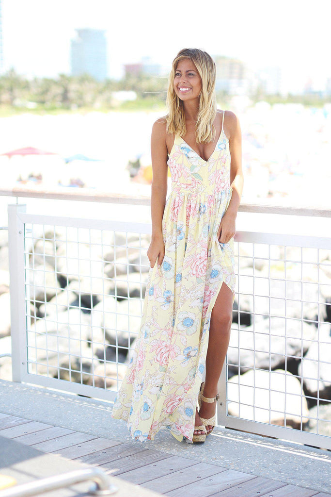 floral yellow maxi dress