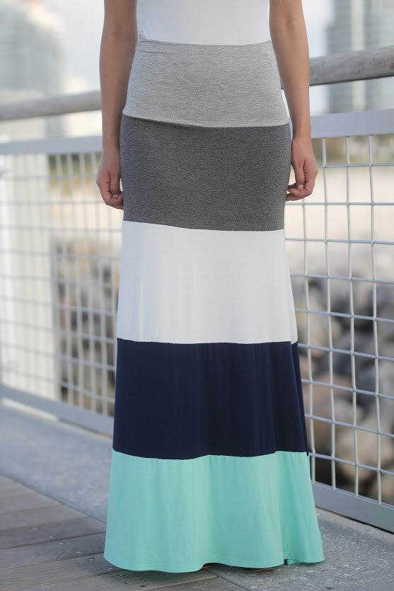 jade and navy color block skirt