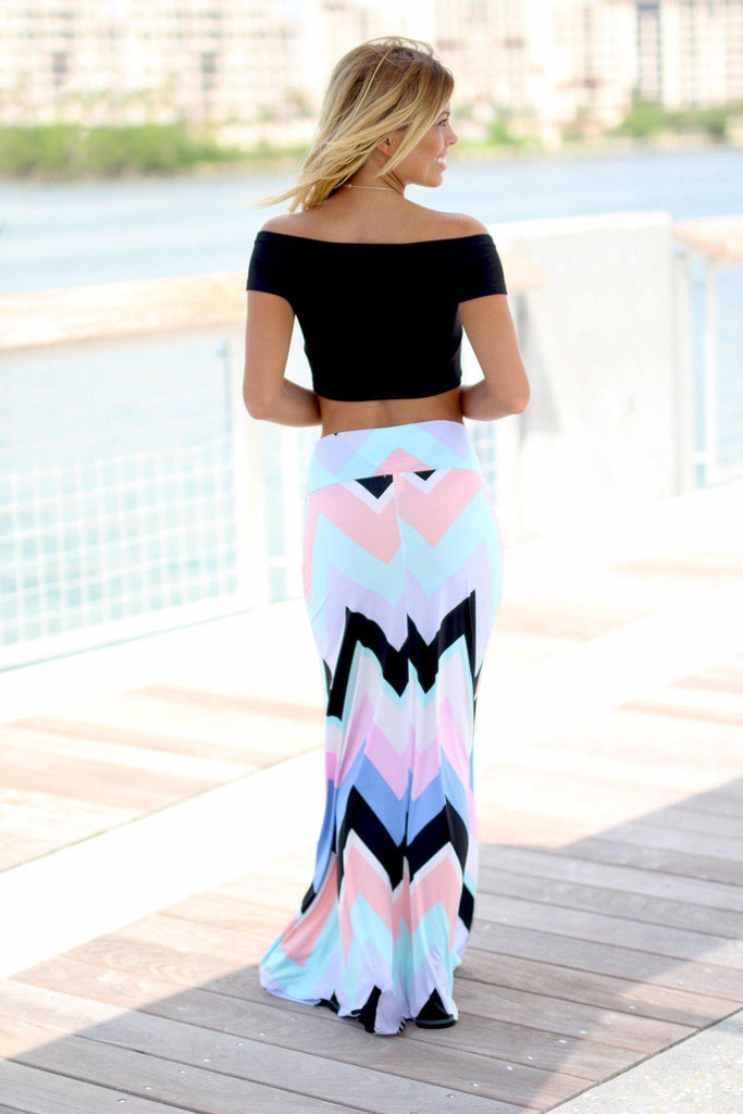 chevron multi color maxi skirt