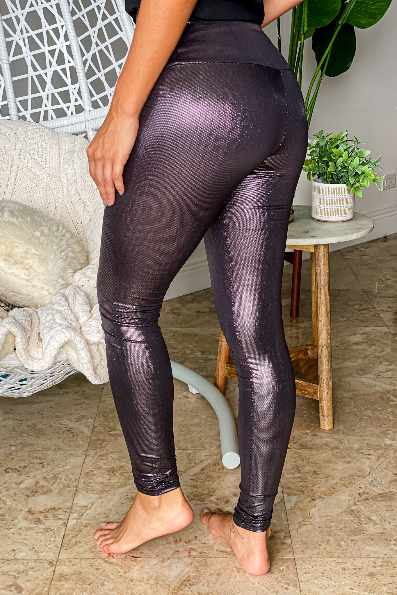metallic cute leggings