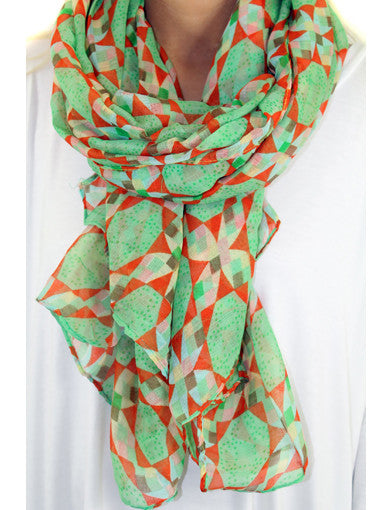 Mint and coral scarf - zoomed view