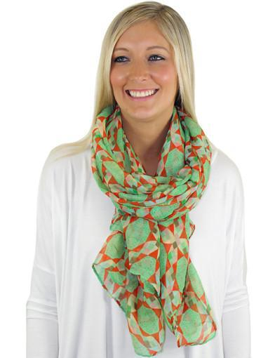 Mint And Coral Print Scarf