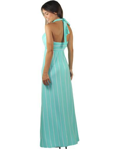 Mint dress with halter back - back view