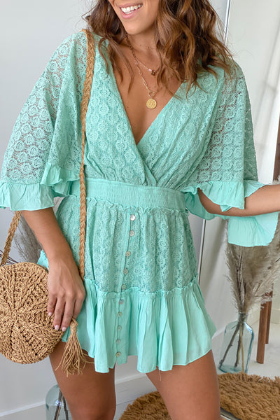 Mint Lace Romper With Bell Sleeves