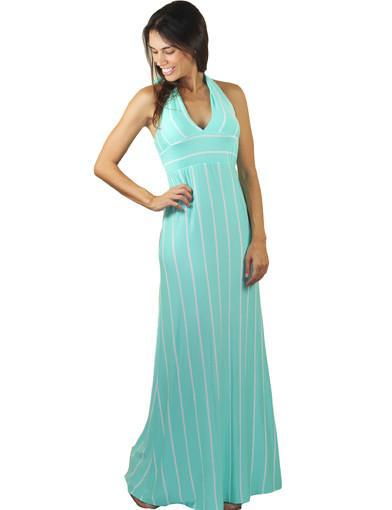 Mint striped dress - front view
