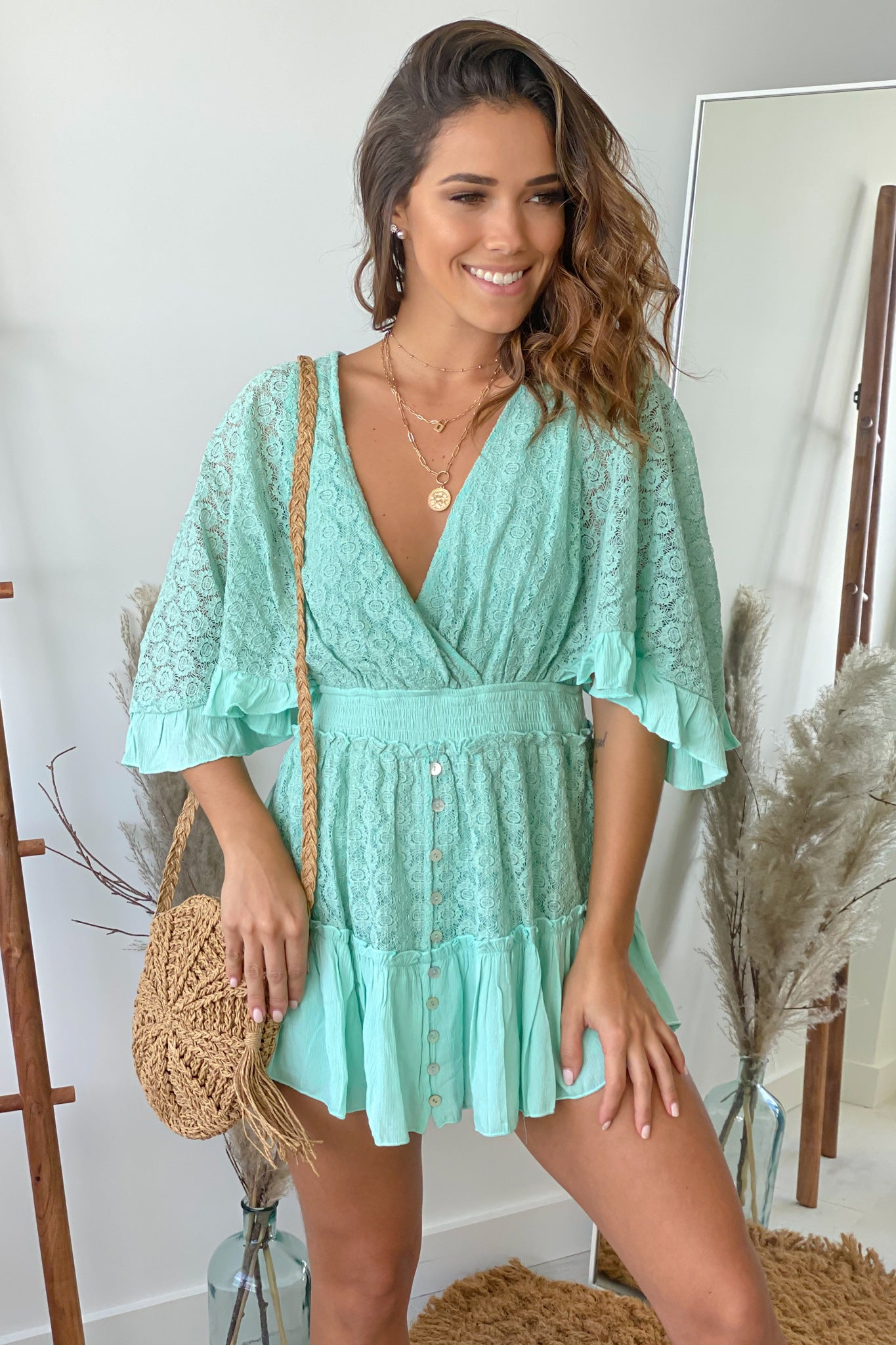 mint summer romper