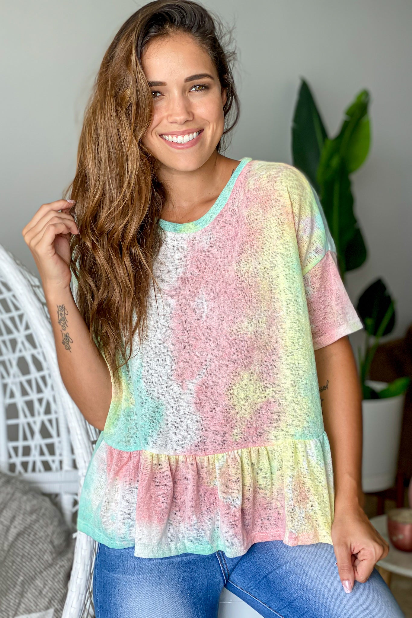 mint tie dye cute top