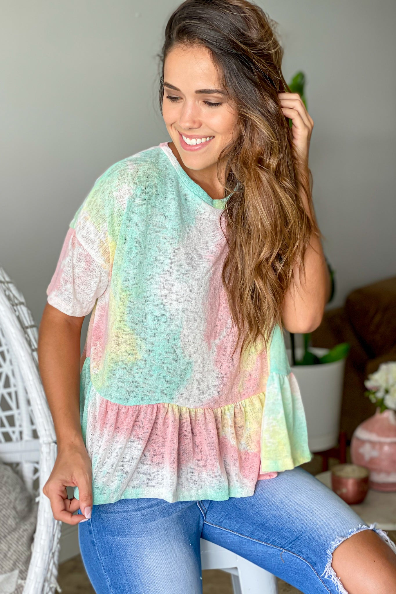 mint tie dye summer top