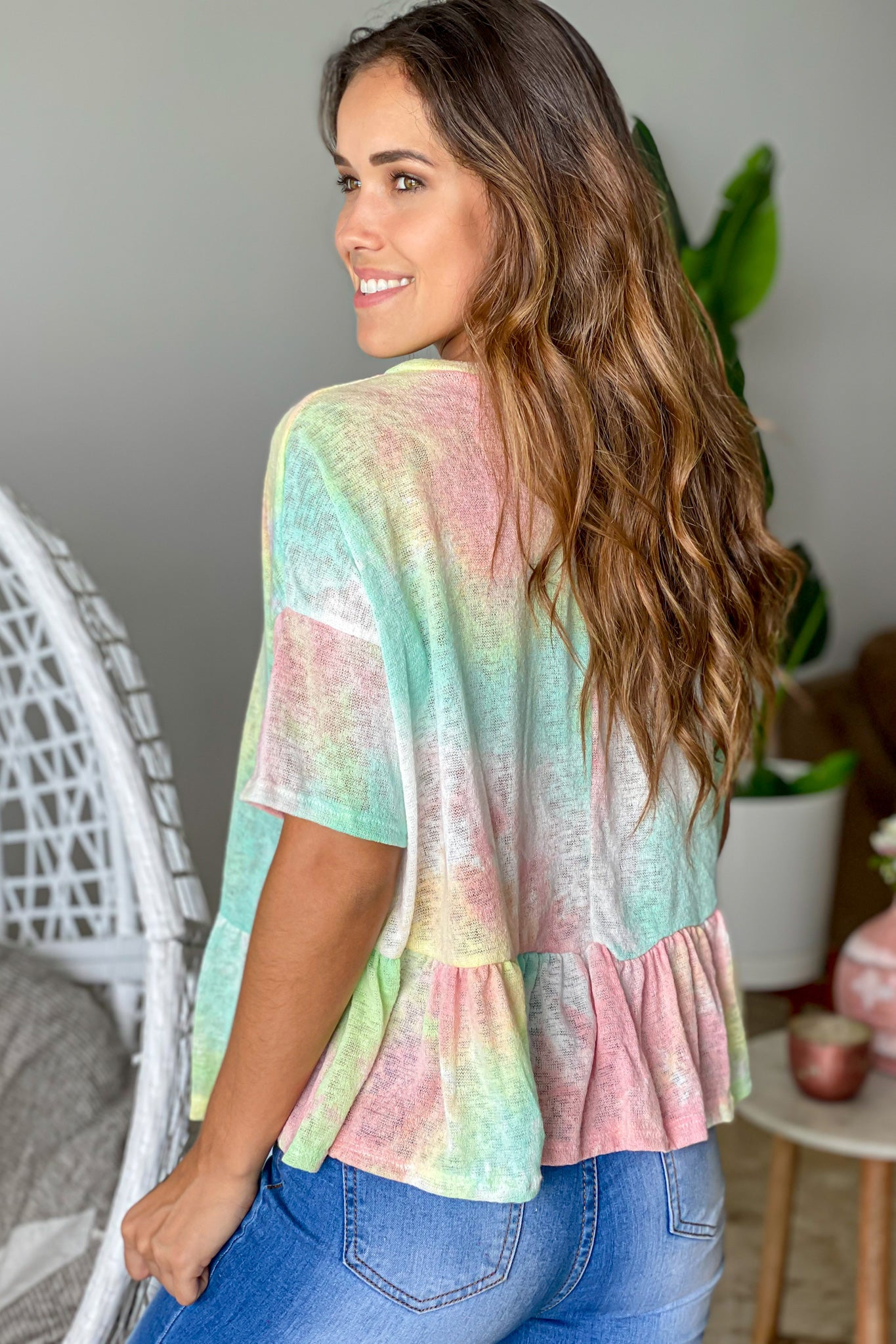mint tie dye vacation top