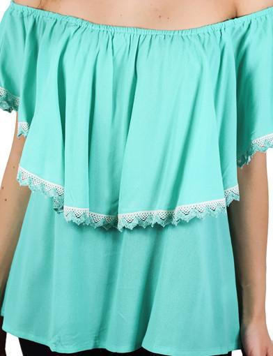 Mint top with crochet trim - zoomed view