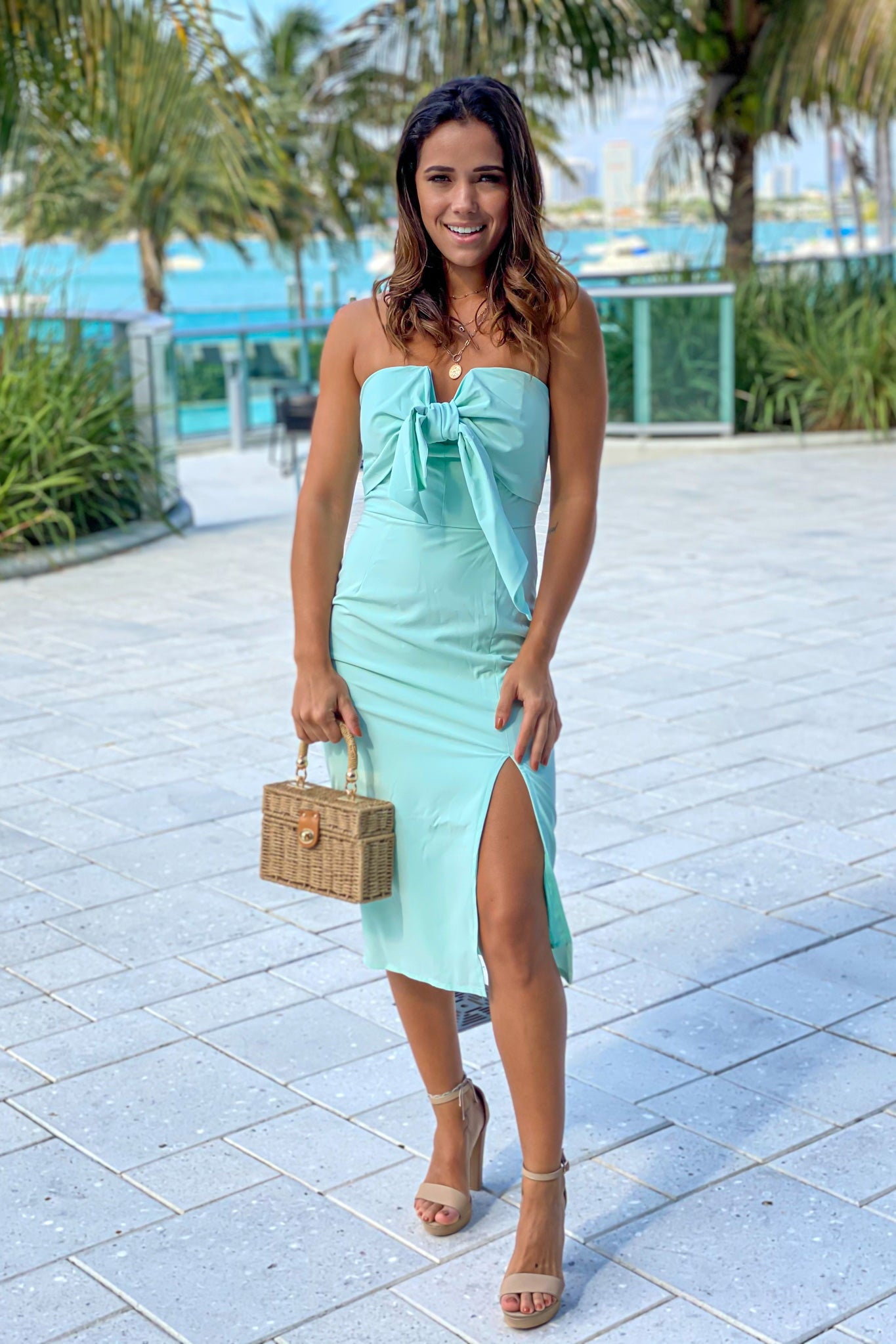 mint tube midi dress with front tie