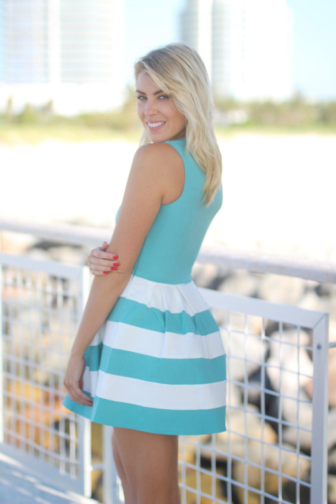 Jade Color Block Short Dress