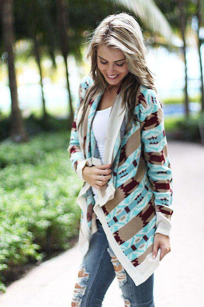 Mint And Burgundy Cardigan