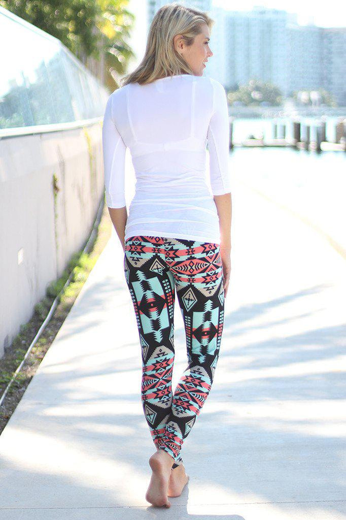 Mint And Coral Aztec Leggings