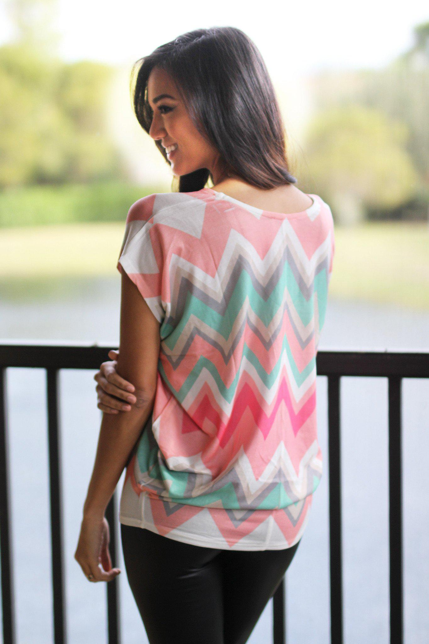 Coral and Mint Chevron Top