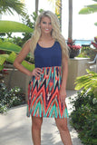 Mint and Coral Short Dress with Navy Top
