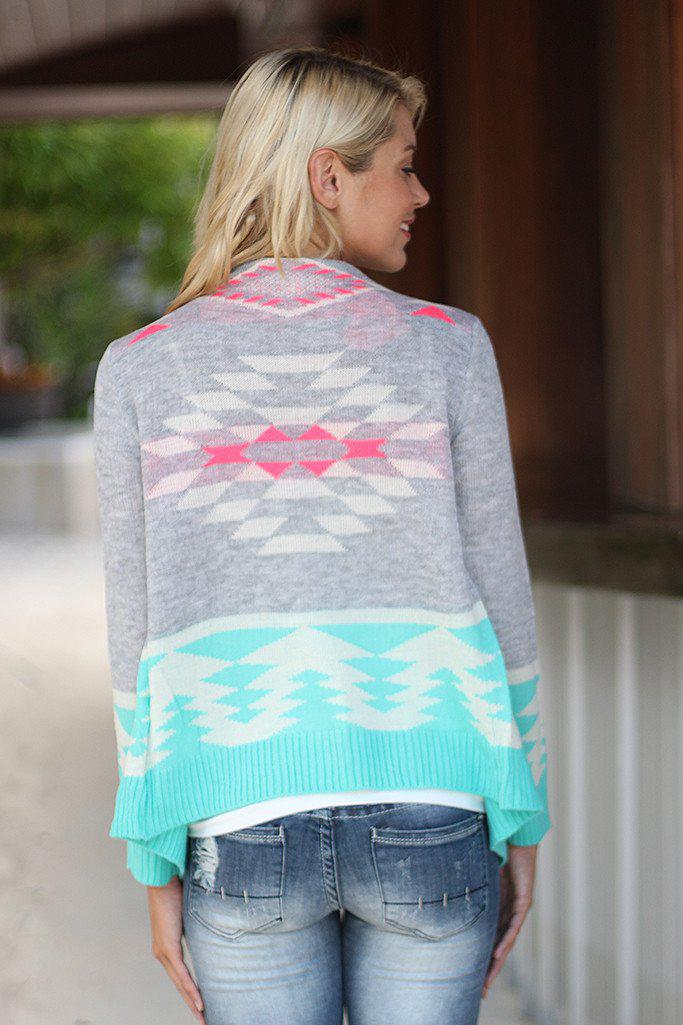 Gray and Mint Open Cardigan