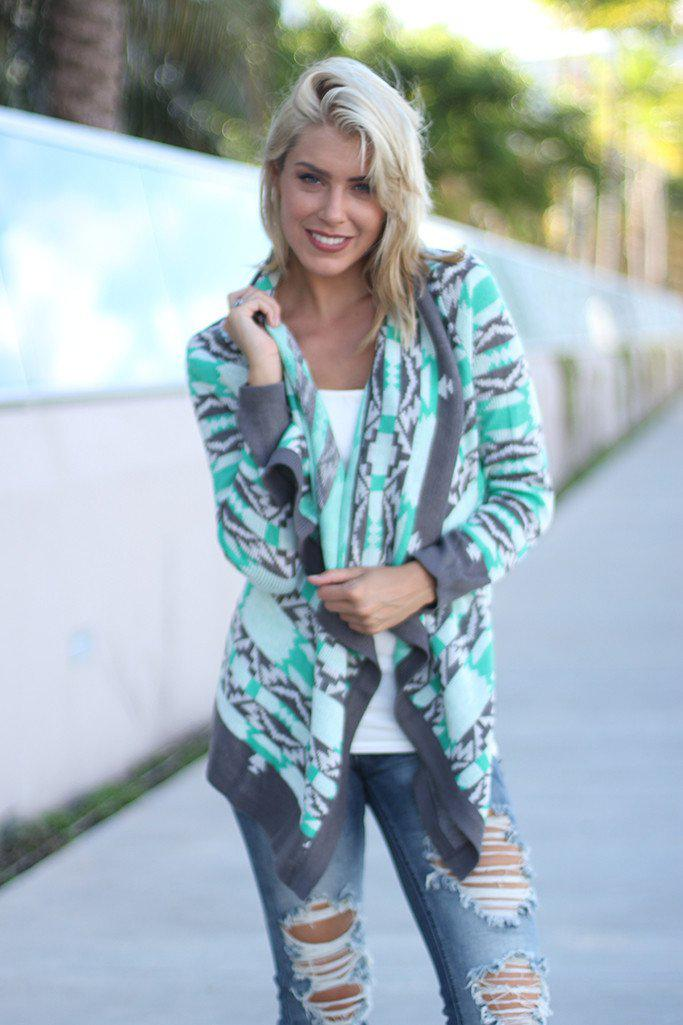 Mint And Gray Printed Cardigan