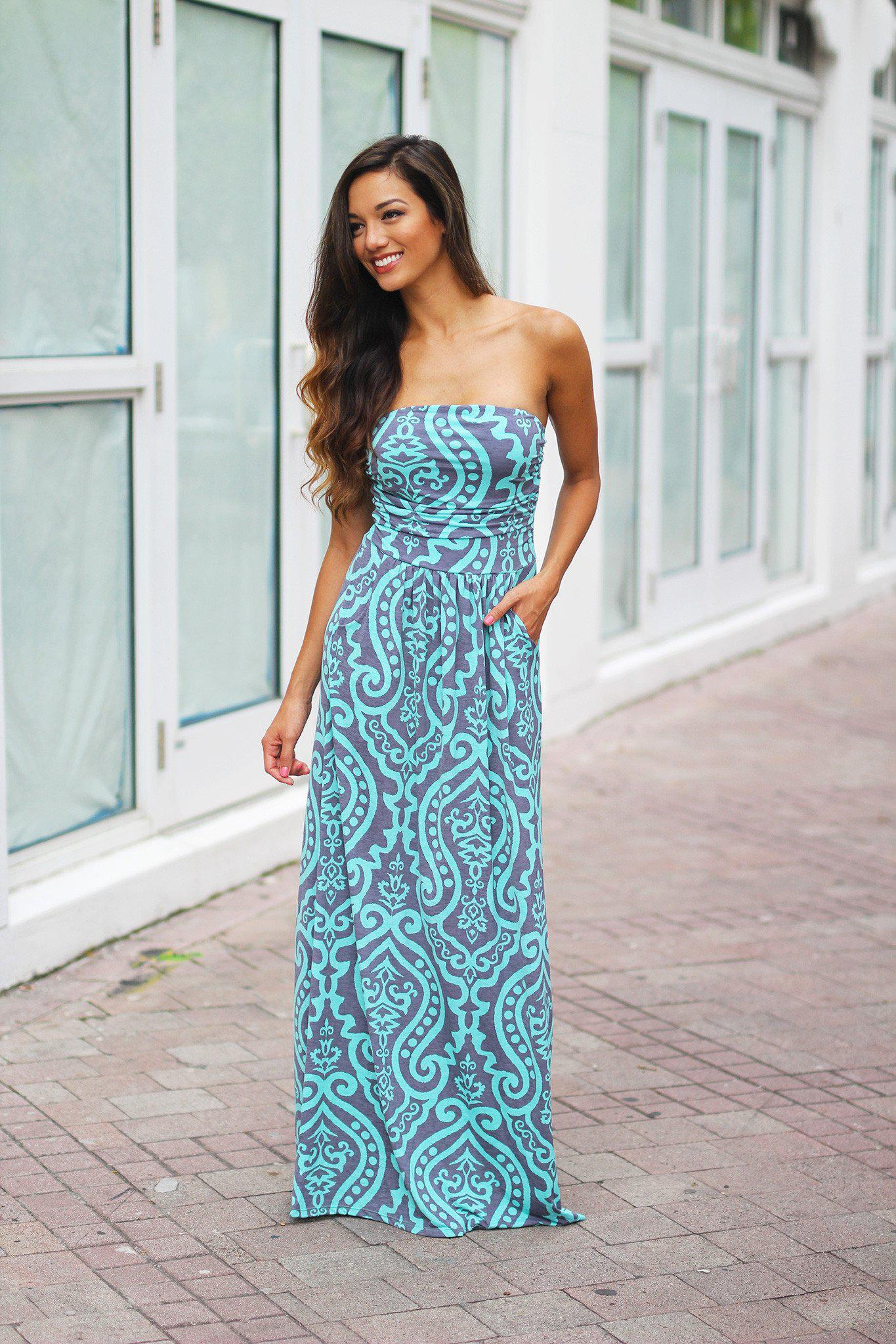 Mint and Gray Printed Maxi Dress with Pockets