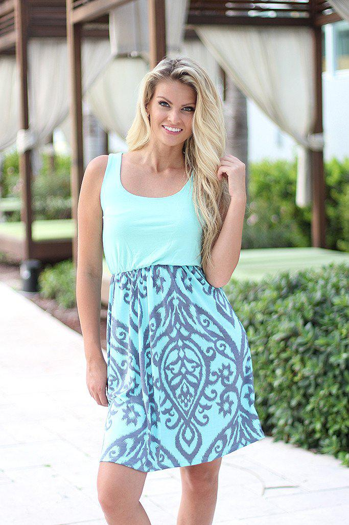 Mint and Gray Printed Short Dress