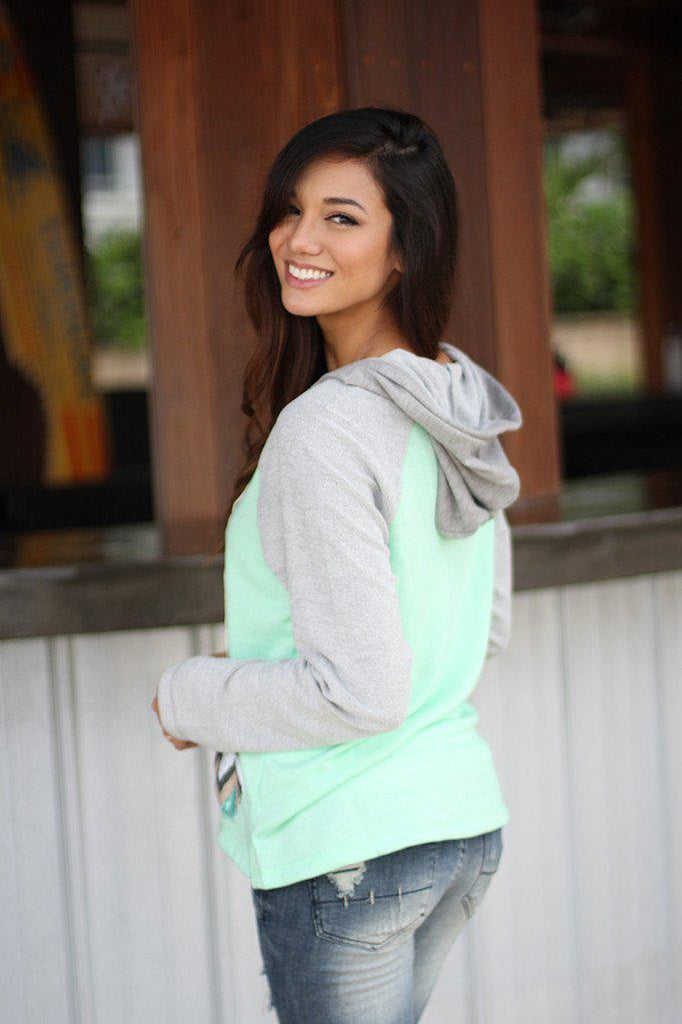 Mint And Gray Sequin Sweater