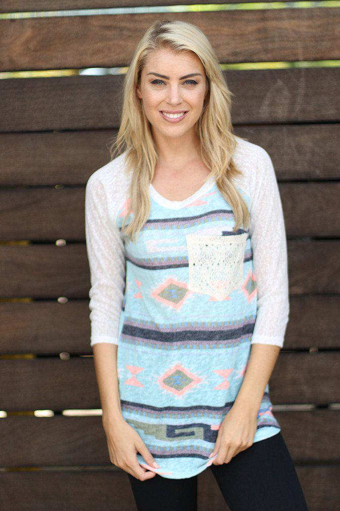 Mint And Neon Peach Top with Crochet Pocket