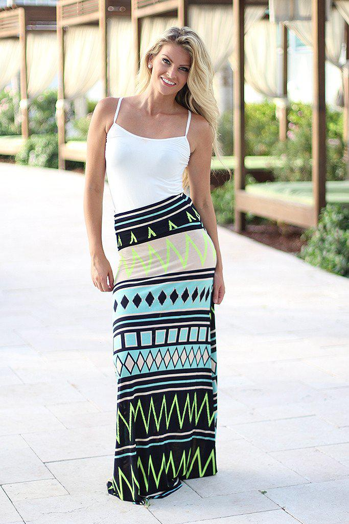 Mint and Neon Yellow Chevron Maxi Skirt