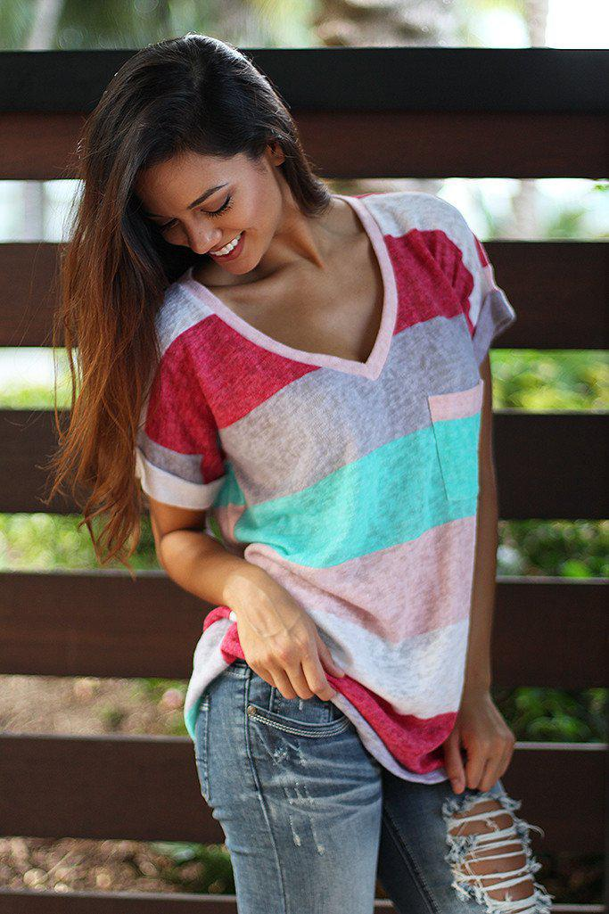 Mint And Pink V-Neck Top