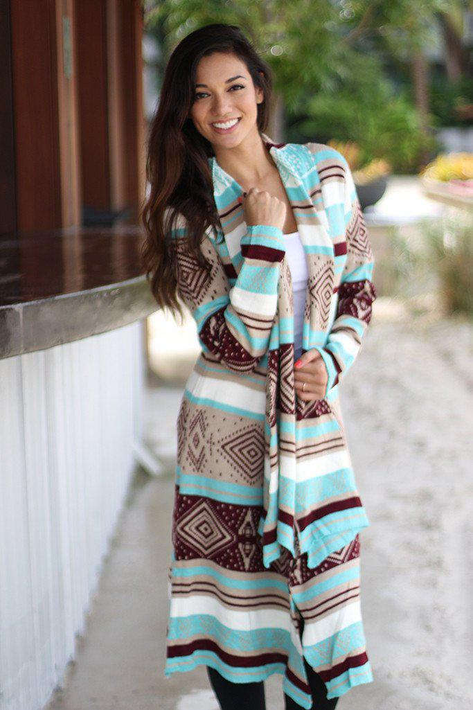 Taupe And Mint Oversized Cardigan