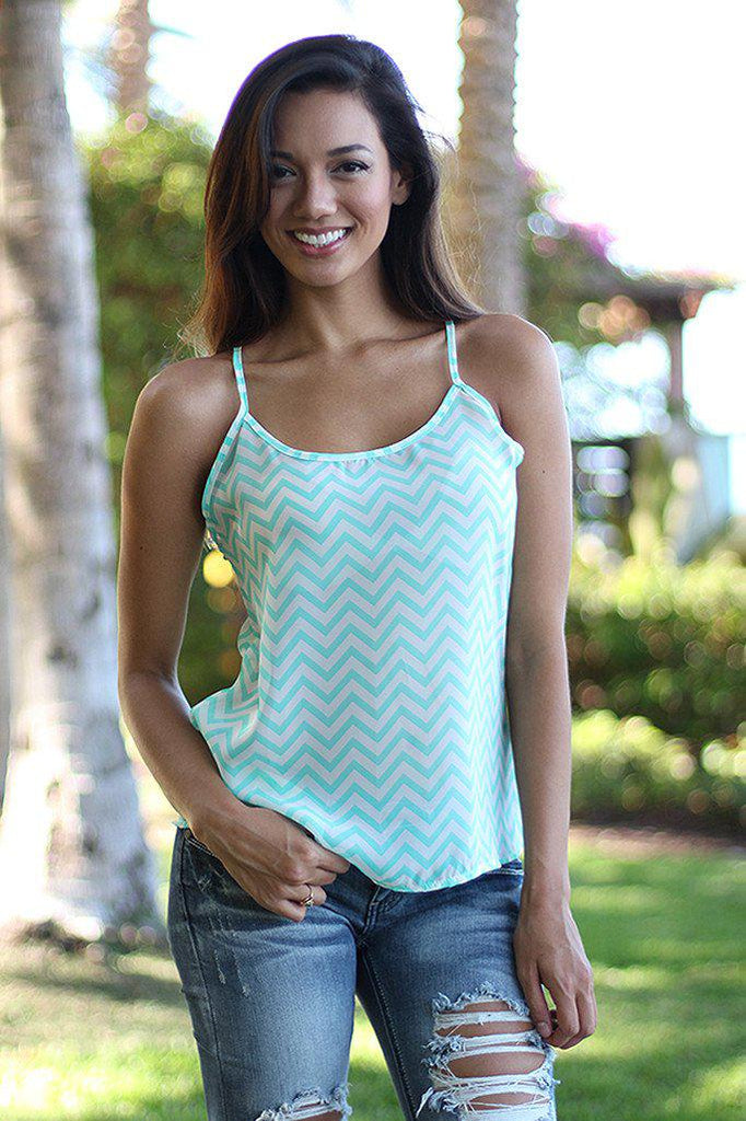 Mint and White Chevron Tank Top