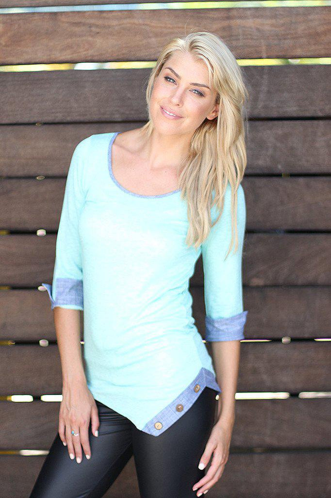 Mint Asymmetrical Top with Buttons
